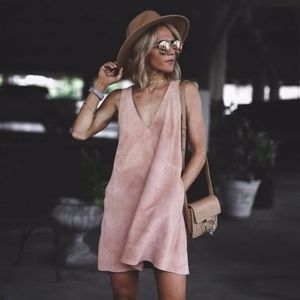 FREE PEOPLE RETRO LOVE SUEDE LEATHER DRESS